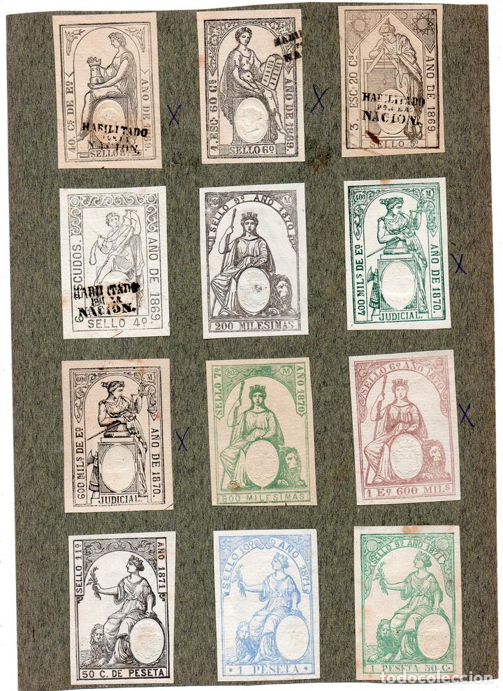 NUM008 LOTE DE 12 SELLOS FISCALES. ESPAÑA. DE 1869 A 1871 (Sellos - Material Filatélico - Otros)