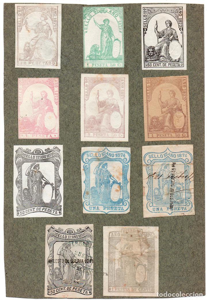 NUM009 LOTE DE 11 SELLOS FISCALES. ESPAÑA. DE 1871 A 1874 (Sellos - Material Filatélico - Otros)