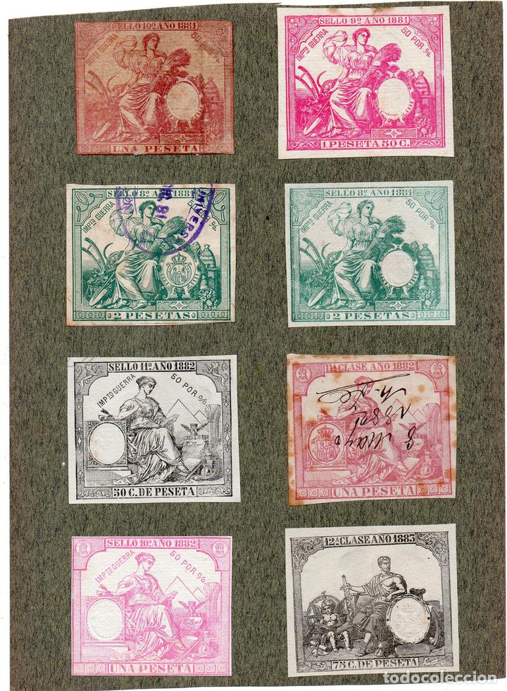 NUM013 LOTE DE 8 SELLOS FISCALES. ESPAÑA. DE 1881 A 1883 (Sellos - Material Filatélico - Otros)
