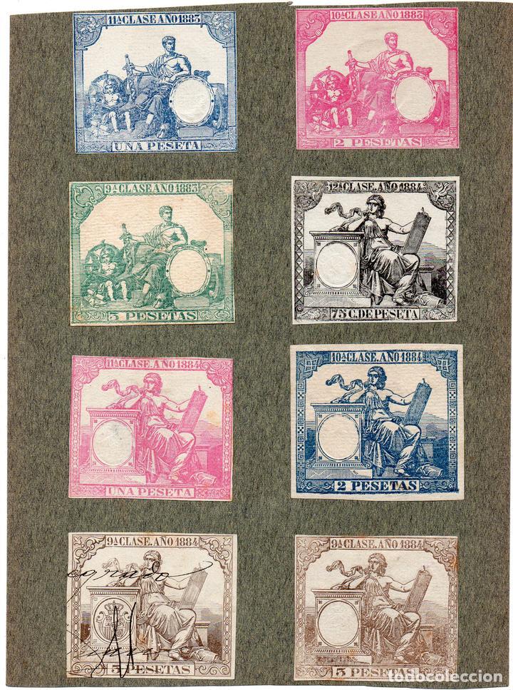 NUM014 LOTE DE 8 SELLOS FISCALES. ESPAÑA. DE 1883 A 1884 (Sellos - Material Filatélico - Otros)