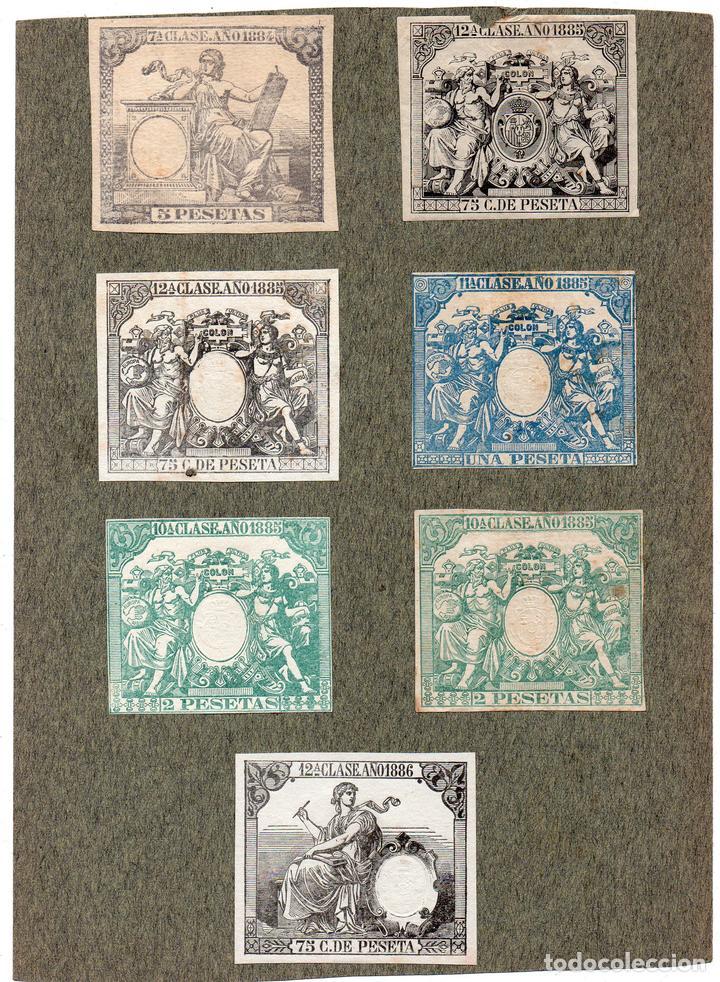 NUM015 LOTE DE 7 SELLOS FISCALES. ESPAÑA. DE 1884 A 1886 (Sellos - Material Filatélico - Otros)