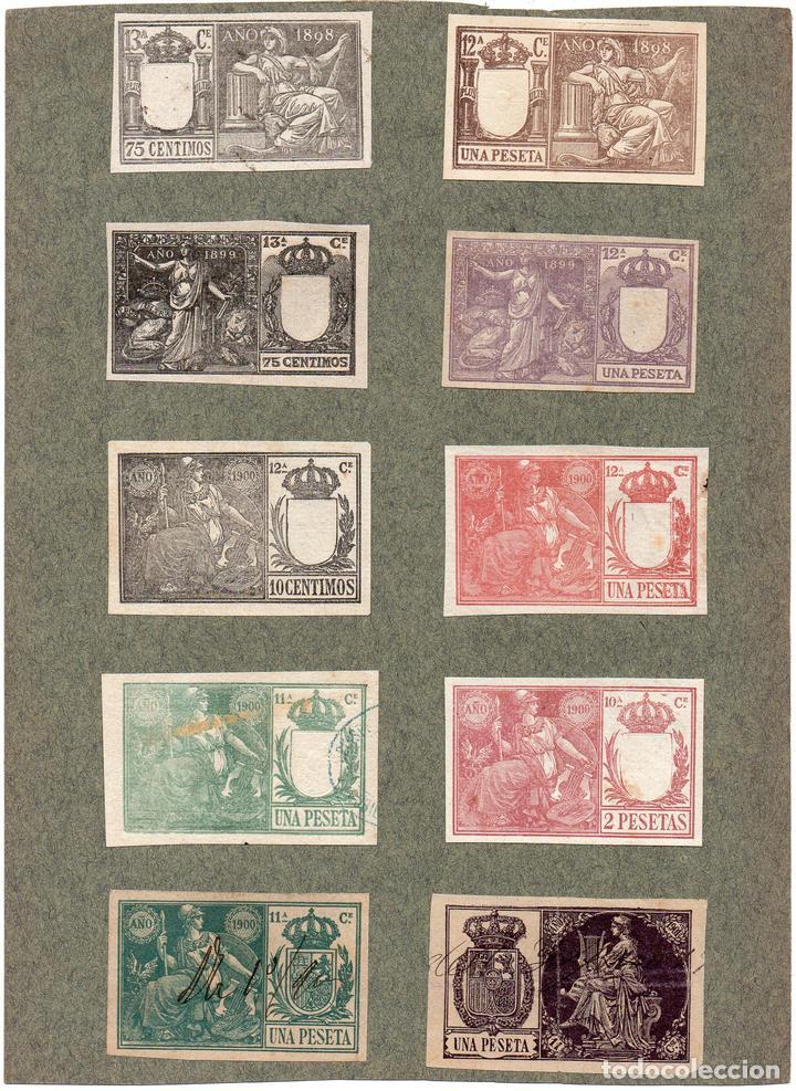NUM022 LOTE DE 10 SELLOS FISCALES. ESPAÑA. DE 1898 A 1900 (Sellos - Material Filatélico - Otros)