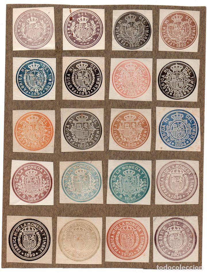 NUM025 LOTE DE 20 SELLOS FISCALES. ESPAÑA. DE 1890 A 1901 (Sellos - Material Filatélico - Otros)