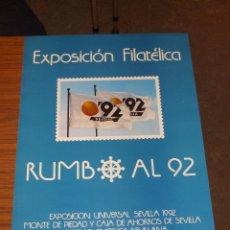 Sellos: CARTEL 35 X 50 EXPO 92, EXP. FIL. RUMBO AL 92 - 20/25 ENERO 1987, CARTEL SIN DOBLAR, PERFECTO. Lote 93149150