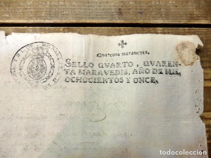 PAPEL TIMBRADO FISCAL JOSE NAPOLEON AÑO 1811 SELLO 4º DE 40 MARAVEDIS TIMBROLOGIA , INDEPENDENCIA, (Sellos - Material Filatélico - Otros)