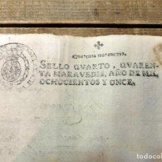 Sellos: PAPEL TIMBRADO FISCAL JOSE NAPOLEON AÑO 1811 SELLO 4º DE 40 MARAVEDIS TIMBROLOGIA , INDEPENDENCIA, . Lote 94917947