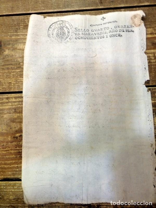Sellos: papel timbrado fiscal Jose Napoleon año 1811 sello 4º de 40 maravedis timbrologia , independencia, - Foto 2 - 94917947