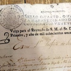 Sellos: PAPEL FISCAL HABILITADO JOSE NAPOLEON AÑO 1811 SELLO 4º DE 40 MARAVEDIS TIMBROLOGIA , INDEPENDENCI. Lote 94918215