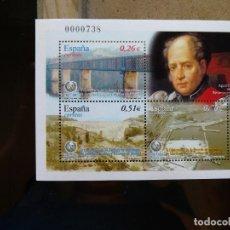 Sellos: HOJA BLOQUE II CENTENARIO DE LA ESCUELA DE INGENIEROS DE CAMINOS, CANALES Y PUERTOS DE MADRID. Lote 95741119