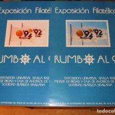 Sellos: CARTEL 35 X 50 EXPO 92, EXP. FIL. RUMBO AL 92 - 20/25 ENERO 1987, VARIEDAD, CARTEL SIN DOBLAR, PERF+. Lote 95804619