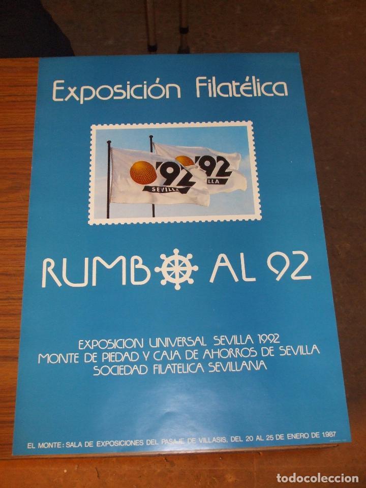 Sellos: cartel 35 x 50 expo 92, de las 4 exposiciones filatelicas rumbo al 92, cartel sin doblar, perfecto - Foto 2 - 151437364