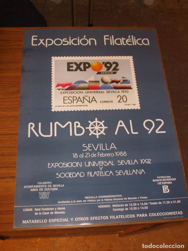 Sellos: cartel 35 x 50 expo 92, de las 4 exposiciones filatelicas rumbo al 92, cartel sin doblar, perfecto - Foto 3 - 151437364