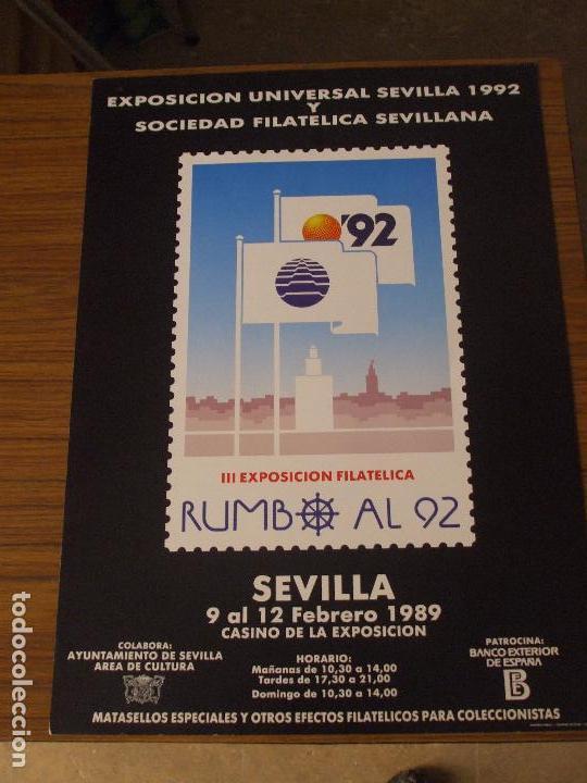 Sellos: cartel 35 x 50 expo 92, de las 4 exposiciones filatelicas rumbo al 92, cartel sin doblar, perfecto - Foto 4 - 151437364