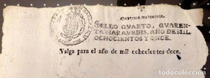 PAPEL FISCAL HABILITADO JOSE NAPOLEON AÑO 1812 SELLO 4º DE 40 MARAVEDIS TIMBROLOGIA , INDEPENDENCI (Sellos - Material Filatélico - Otros)