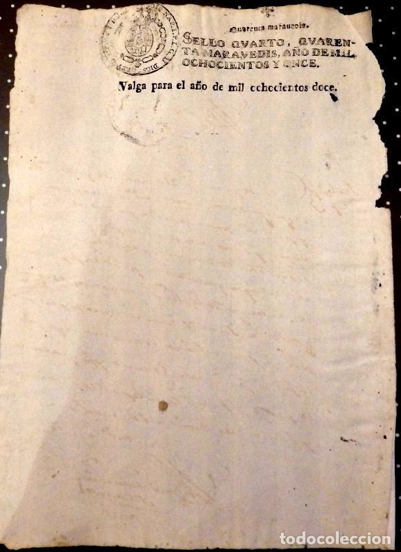 Sellos: papel fiscal habilitado Jose Napoleon año 1812 sello 4º de 40 maravedis timbrologia , independenci - Foto 2 - 96254043