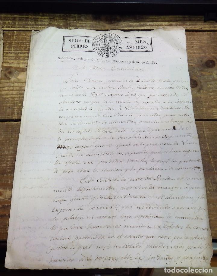 PAPEL TIMBRADO FISCAL 1820 FERNANDO VII SELLO DE POBRES TIMBRE 4 MARAVEDIS TIMBROLOGIA HABILITADO (Sellos - Material Filatélico - Otros)