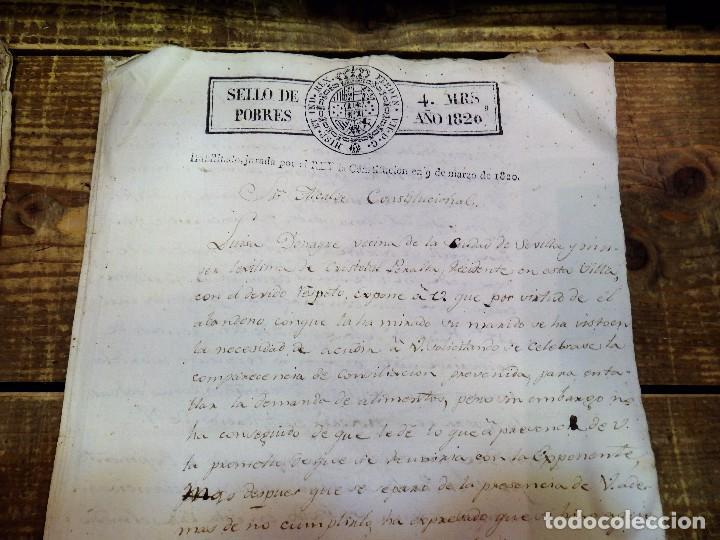 Sellos: papel timbrado fiscal 1820 Fernando VII sello de pobres timbre 4 maravedis timbrologia habilitado - Foto 2 - 97913463