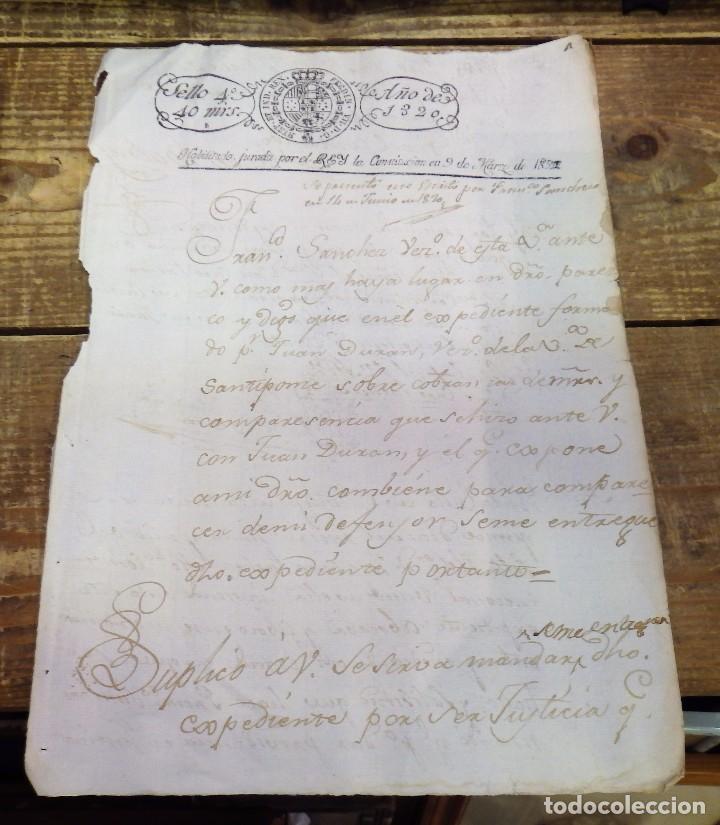 PAPEL TIMBRADO FISCAL 1820 FERNANDO VII SELLO 4º TIMBRE 40 MARAVEDIS TIMBROLOGIA (Sellos - Material Filatélico - Otros)