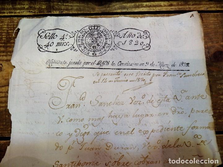 Sellos: papel timbrado fiscal 1820 Fernando VII sello 4º timbre 40 maravedis timbrologia - Foto 2 - 97913787