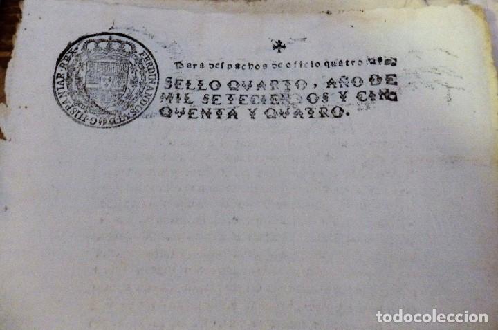 Sellos: papel en blanco timbrado fiscal 1754 Fernando VI sello de oficio timbre 4 maravedis timbrologia - Foto 2 - 98796531