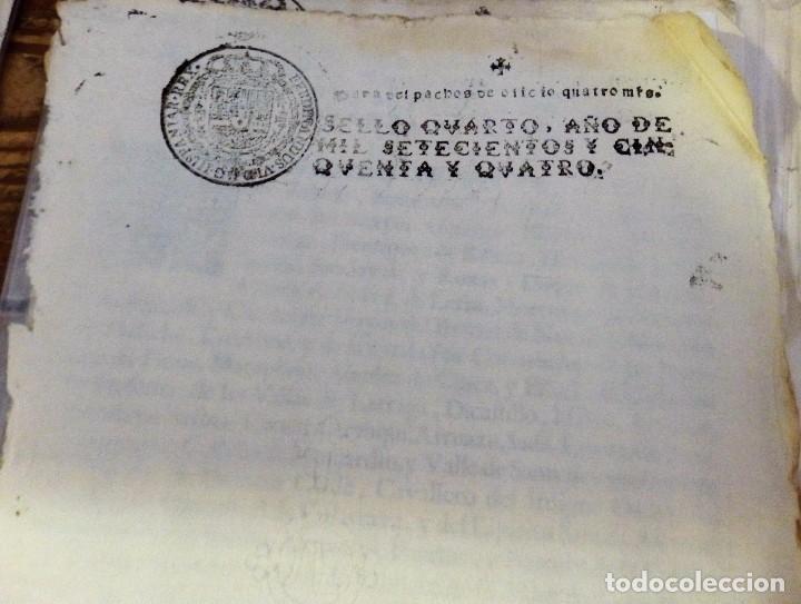 Sellos: papel en blanco timbrado fiscal 1754 Fernando VI sello de oficio timbre 4 maravedis timbrologia - Foto 2 - 98796559