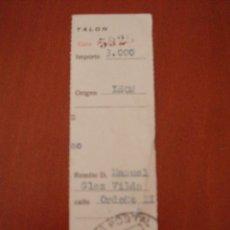Sellos: RESGUARDO,TALON GIRO POSTAL.AÑO 1978.LEON.. Lote 99645799