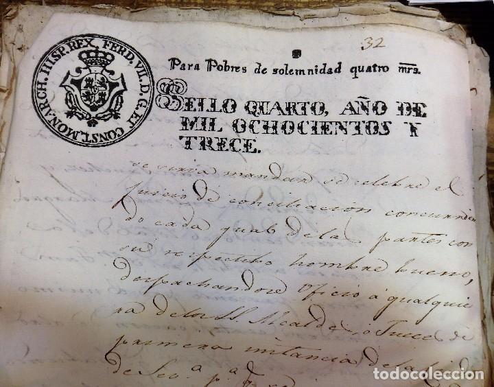 PAPEL TIMBRADO FISCAL FERNANDO VII AÑO 1813 , SELLO POBRES DE SOLEMNIDAD DE 4 MARAVEDIS TIMBROLOGIA (Sellos - Material Filatélico - Otros)