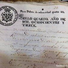 Sellos: PAPEL TIMBRADO FISCAL FERNANDO VII AÑO 1813 , SELLO POBRES DE SOLEMNIDAD DE 4 MARAVEDIS TIMBROLOGIA . Lote 100631247