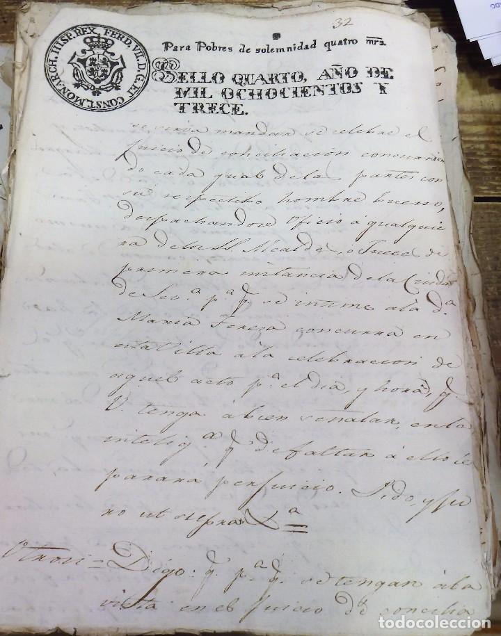 Sellos: papel timbrado fiscal Fernando VII año 1813 , sello pobres de solemnidad de 4 maravedis timbrologia - Foto 2 - 100631247
