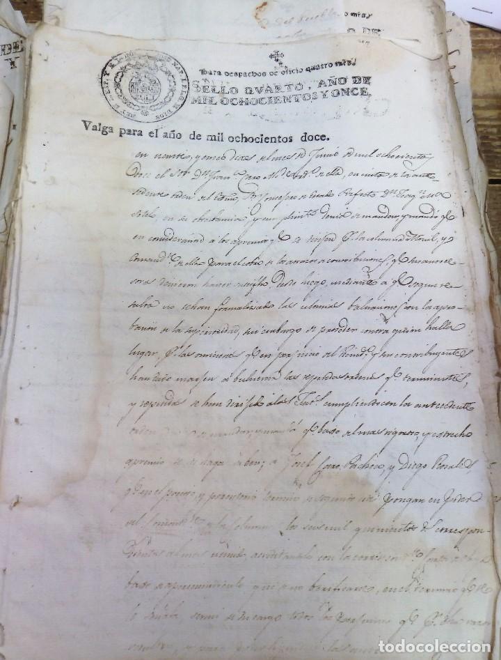 Sellos: papel fiscal habilitado Jose Napoleon año 1812 sello oficio de 4 maravedis timbrologia , independenc - Foto 2 - 100631603