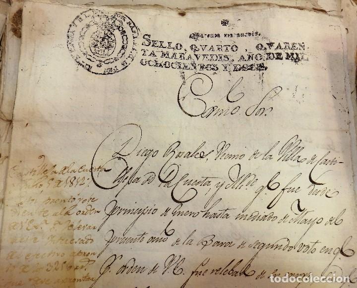 PAPEL FISCAL JOSE NAPOLEON AÑO 1812 SELLO 4º DE 40 MARAVEDIS TIMBROLOGIA , INDEPENDENCIA (Sellos - Material Filatélico - Otros)