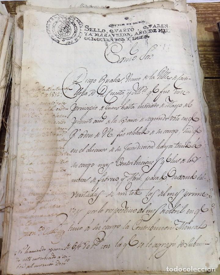 Sellos: papel fiscal Jose Napoleon año 1812 sello 4º de 40 maravedis timbrologia , independencia - Foto 2 - 100632139