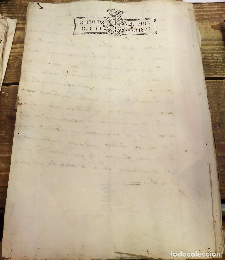 PAPEL SELLADO TIMBRADO FISCAL AÑO 1826 FERNANDO VII SELLO OFICIO 4 MARAVEDIES TIMBROLOGIA ,EN BLANCO (Sellos - Material Filatélico - Otros)