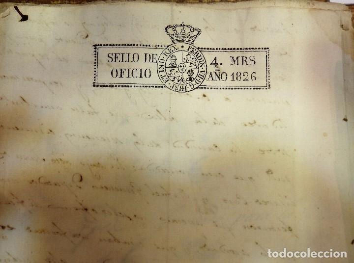 Sellos: PAPEL SELLADO TIMBRADO FISCAL AÑO 1826 FERNANDO VII SELLO OFICIO 4 MARAVEDIES TIMBROLOGIA ,EN BLANCO - Foto 2 - 100634939