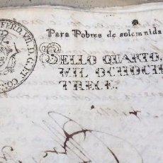 Sellos: PAPEL TIMBRADO FISCAL FERNANDO VII AÑO 1813 , SELLO POBRES DE SOLEMNIDAD DE 4 MARAVEDIS TIMBROLOGIA. Lote 101633083