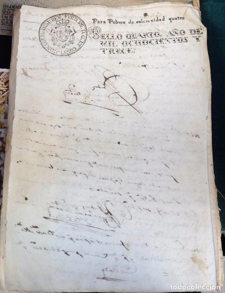 Sellos: papel timbrado fiscal Fernando VII año 1813 , sello pobres de solemnidad de 4 maravedis timbrologia - Foto 2 - 101633083