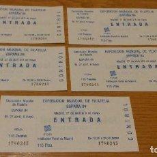 Sellos: EXPOSICION MUNDIAL DE FILATELIA ESPAÑA 84 - 5 ENTRADAS - 110 PTAS. CADA UNA - NUEVAS CON CONTROL. Lote 103777555