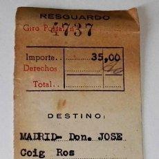 Sellos: ANTIGUO RESGUARDO DE GIRO POSTAL A DON JOSÉ COIG ROS, CORONEL DE AVIACIÓN 1958. Lote 115327859