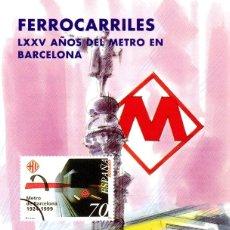 Sellos: ESPAÑA.- FOLLETO DE INFORMACIÓN FILATÉLICA Nº 10/1999.- FERROCARRILES. METRO EN BARCELONA. Lote 115401755
