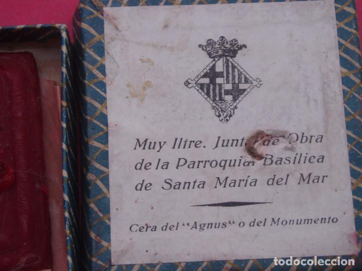 Sellos: MUY INTERESANTE SELLO ANTIGUO AGNUS EN CERA. SANTA MARIA DEL MAR. BARCELONA. - Foto 2 - 116284727