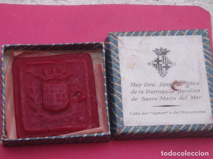 Sellos: MUY INTERESANTE SELLO ANTIGUO AGNUS EN CERA. SANTA MARIA DEL MAR. BARCELONA. - Foto 3 - 116284727