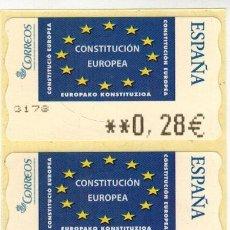 Sellos: JUEGO 3 ETIQUETAS ATM EMISION CONSTITUCION EUROPEA. Lote 121633839