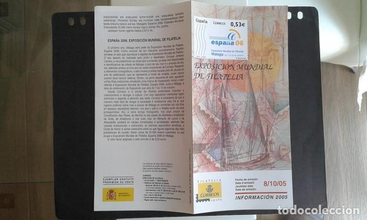 ESPAÑA,8-10-2005,DÍPTICO-FOLLETO FILATELIA CORREOS,EXPOSICIÓN MUNDIAL FILATELIA ESPAÑA 2006 (Sellos - Material Filatélico - Otros)