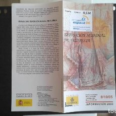 Sellos: ESPAÑA,8-10-2005,DÍPTICO-FOLLETO FILATELIA CORREOS,EXPOSICIÓN MUNDIAL FILATELIA ESPAÑA 2006. Lote 124200699