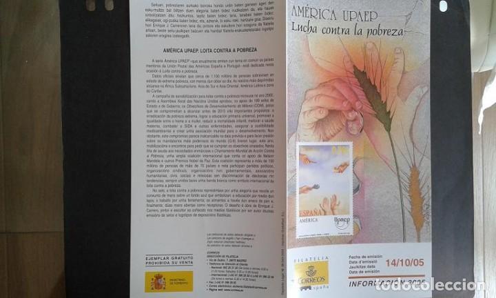 ESPAÑA,14-10-2005,DÍPTICO-FOLLETO FILATELIA CORREOS,AMÉRICA UPAEP (Sellos - Material Filatélico - Otros)
