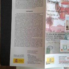 Sellos: ESPAÑA,20-10-2005,DÍPTICO-FOLLETO FILATELIA CORREOS,ANIVERSARIOS FUNDACIÓN OROTAVA Y OTROS. Lote 124201631
