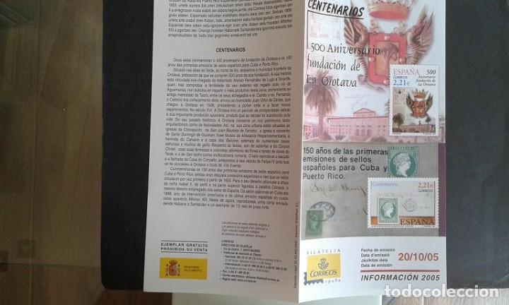 ESPAÑA,20-10-2005,DÍPTICO-FOLLETO FILATELIA CORREOS,ANIVERSARIOS FUNDACIÓN OROTAVA Y OTROS (Sellos - Material Filatélico - Otros)