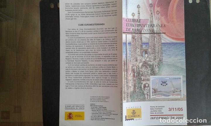 ESPAÑA,03-11-2005,DÍPTICO-FOLLETO FILATELIA CORREOS,CUMBRE EUROMEDITERRÁNEA DE BARCELONA (Sellos - Material Filatélico - Otros)