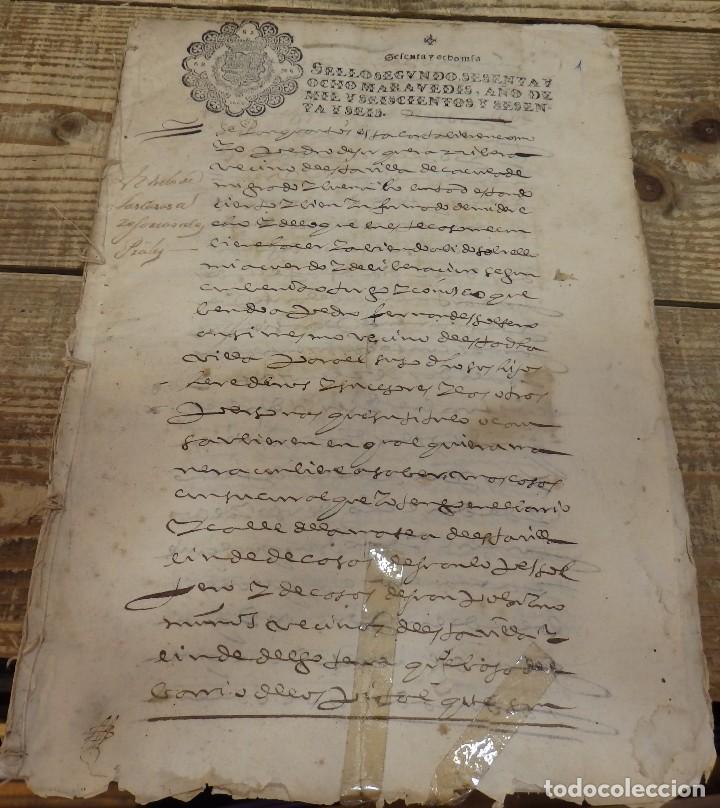 PAPEL TIMBRADO FISCAL,1666, SELLO 2º DE 68 MARAVEDIS TIMBROLOGIA ,MANUSCRITO 23 PAGINAS, CAZORLA (Sellos - Material Filatélico - Otros)