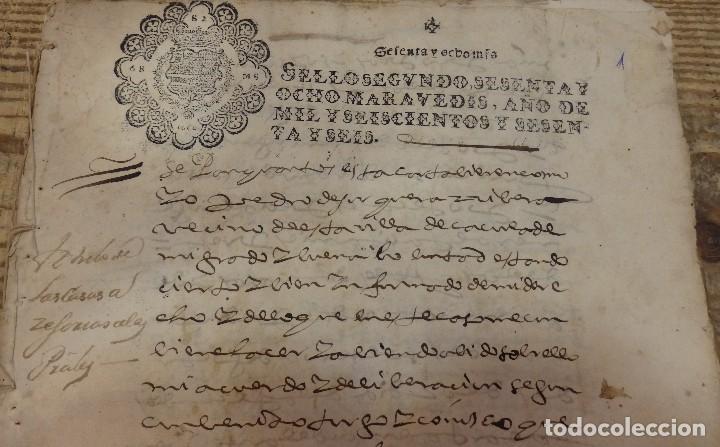 Sellos: papel timbrado fiscal,1666, sello 2º de 68 maravedis timbrologia ,manuscrito 23 paginas, Cazorla - Foto 2 - 124439167